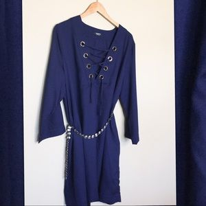 Navy Tunic Dress with Grommet Detail